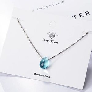 = NEW Artificial Blue Crystal Water Drop Necklace